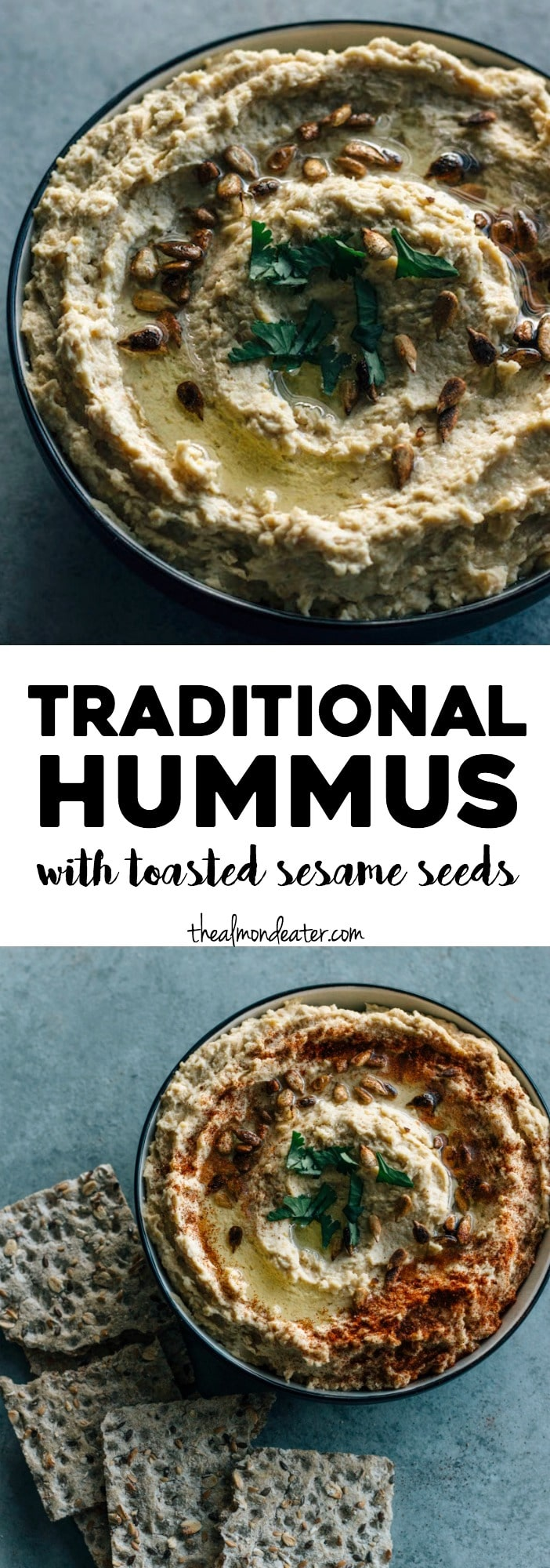Traditional Hummus | A simple hummus recipe topped with toasted sesame seeds--ready in just 5 minutes! | thealmondeater.com