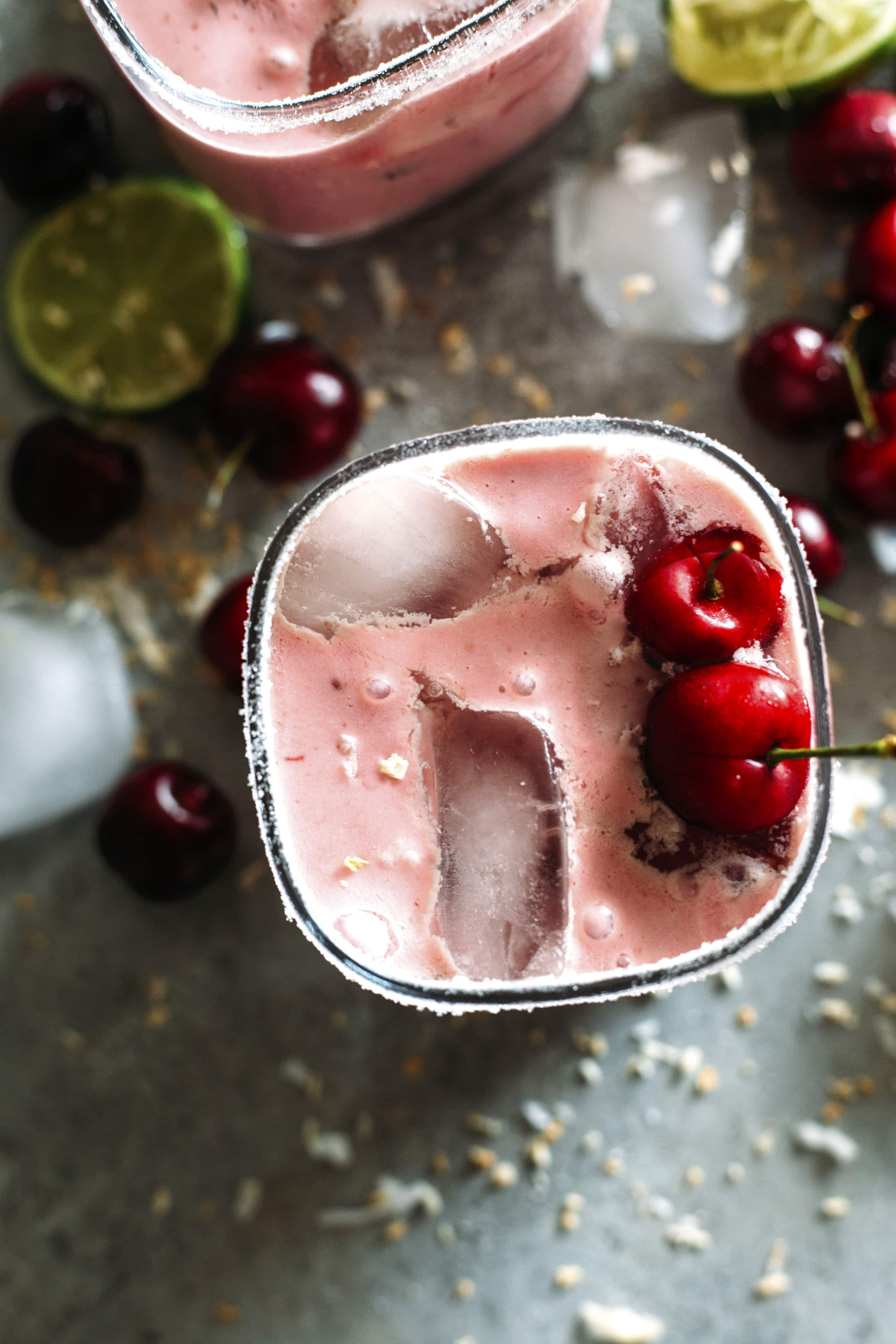 Cherry Coconut Margaritas | This creamy drink is made with fresh cherries and coconut milk and is super refreshing! | thealmondeater.com