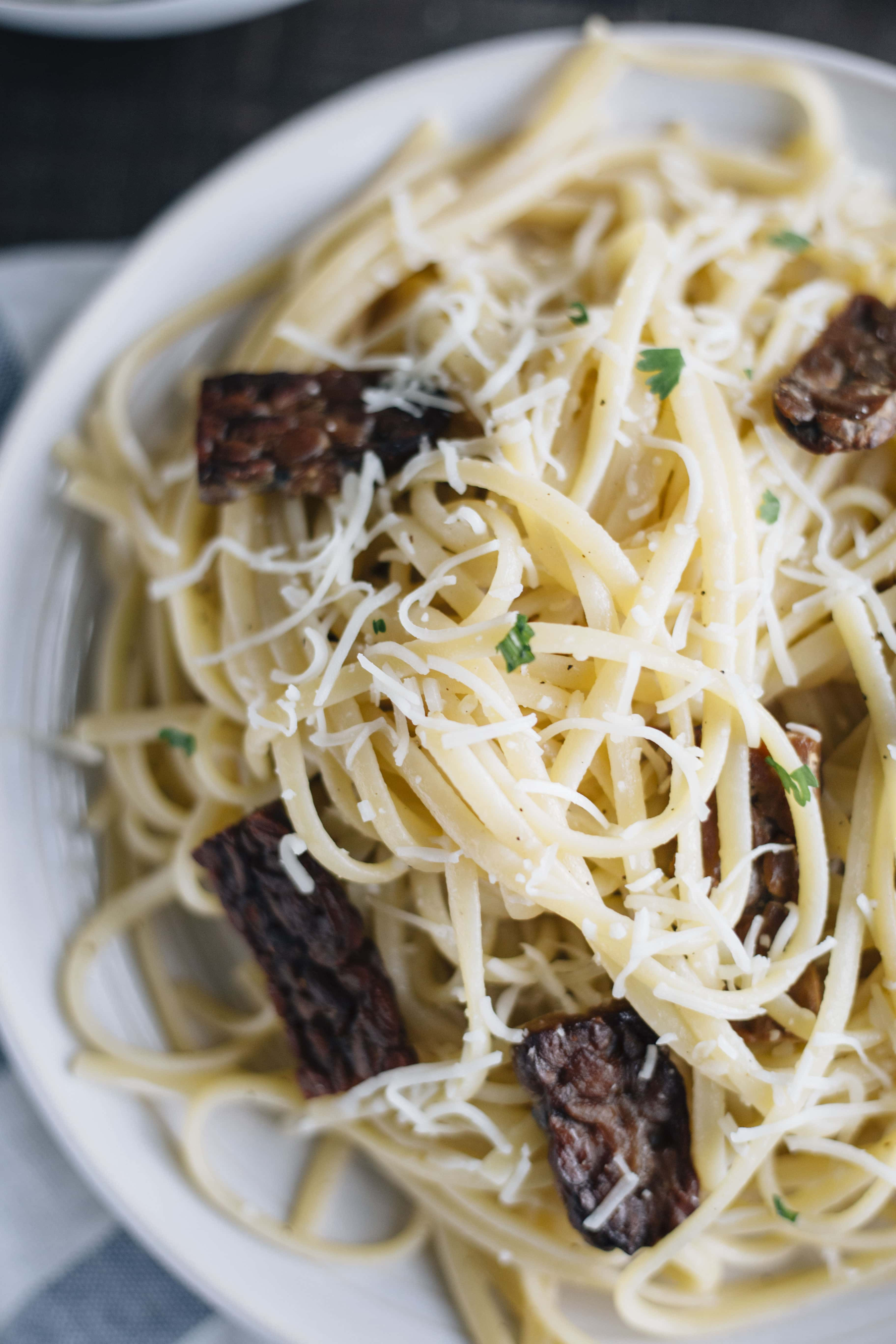 Healthy linguini with tempeh bacon!