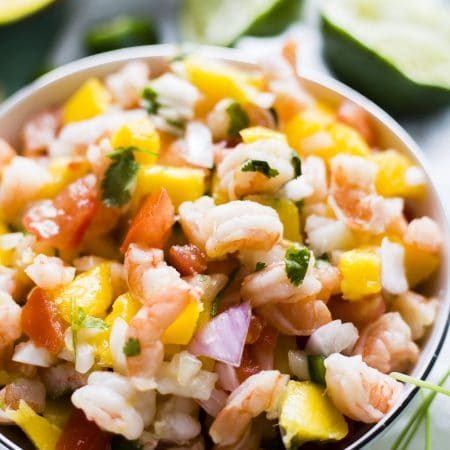 Mango and shrimp combine to form the most DELICIOUS mango ceviche | thealmondeater.com
