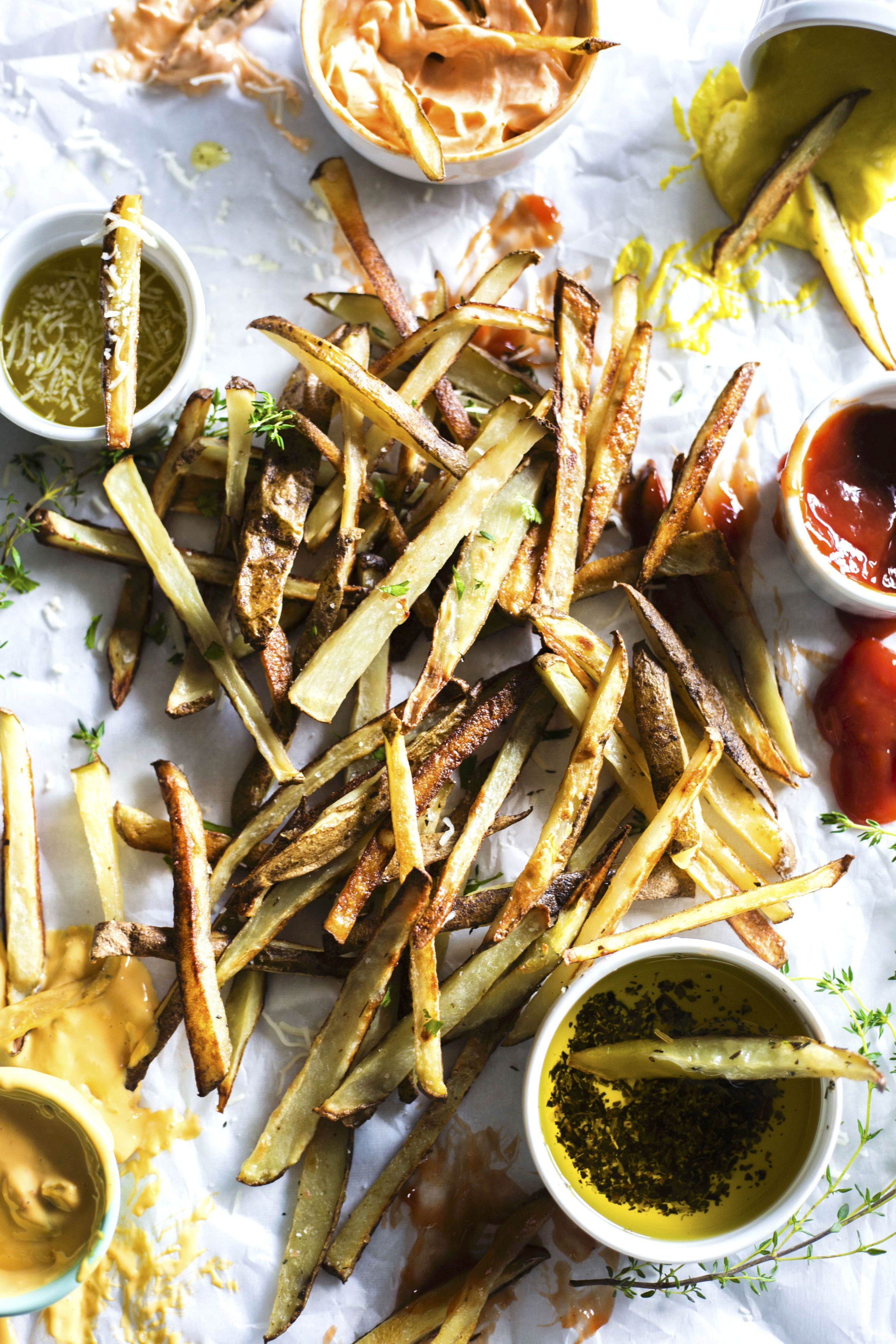 French Fry Bar | Build the ultimate french fry bar with your choice of condiments and homemade, baked fries!