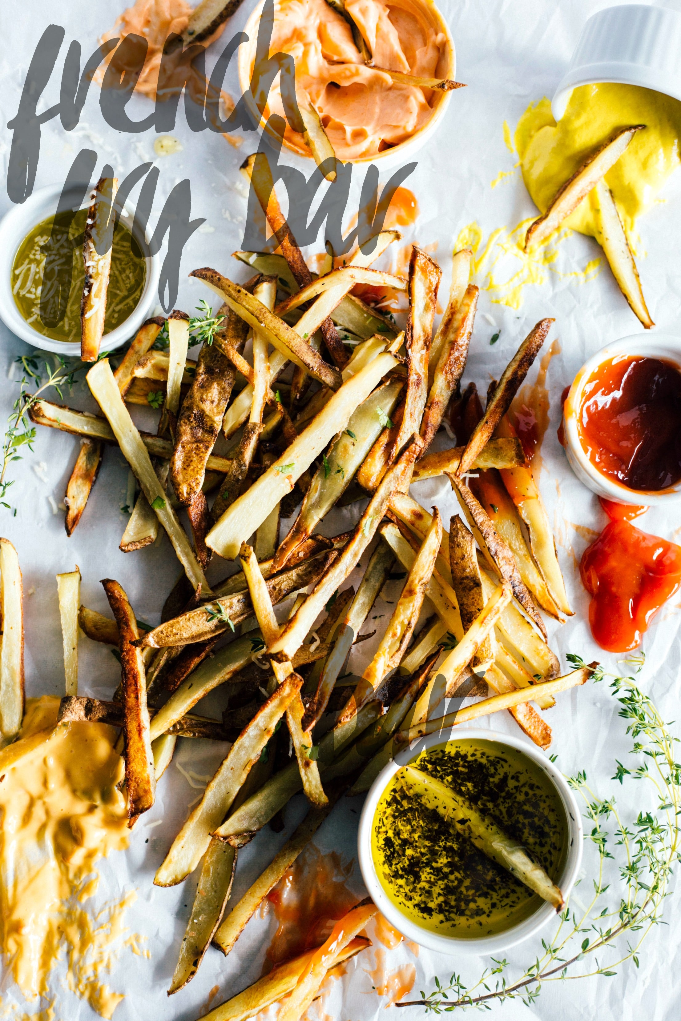French Fry Bar | SUCH a fun party appetizer--make homemade fries and choose your own condiments!
