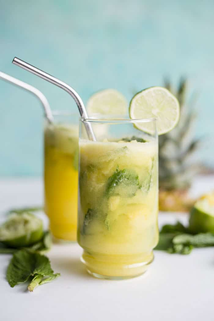 Pineapple Mint Fauxjito | Enjoy a non-alcoholic version of your favorite drink--super refreshing and zero hangover the next day!