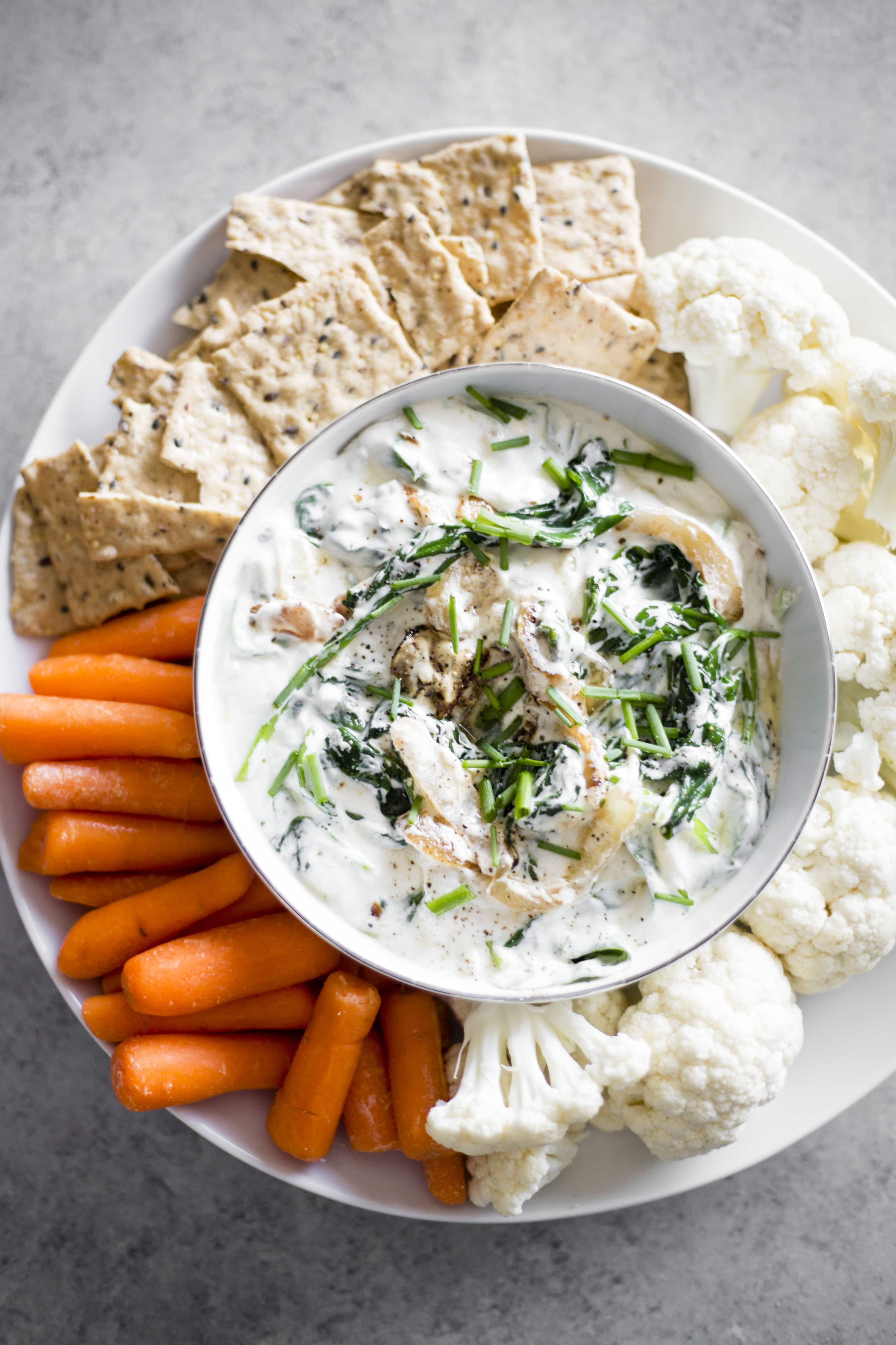 Spinach & Caramelized Onion Dip | A dip that tastes like caramelized onions and is secretly healthy! | thealmondeater.com