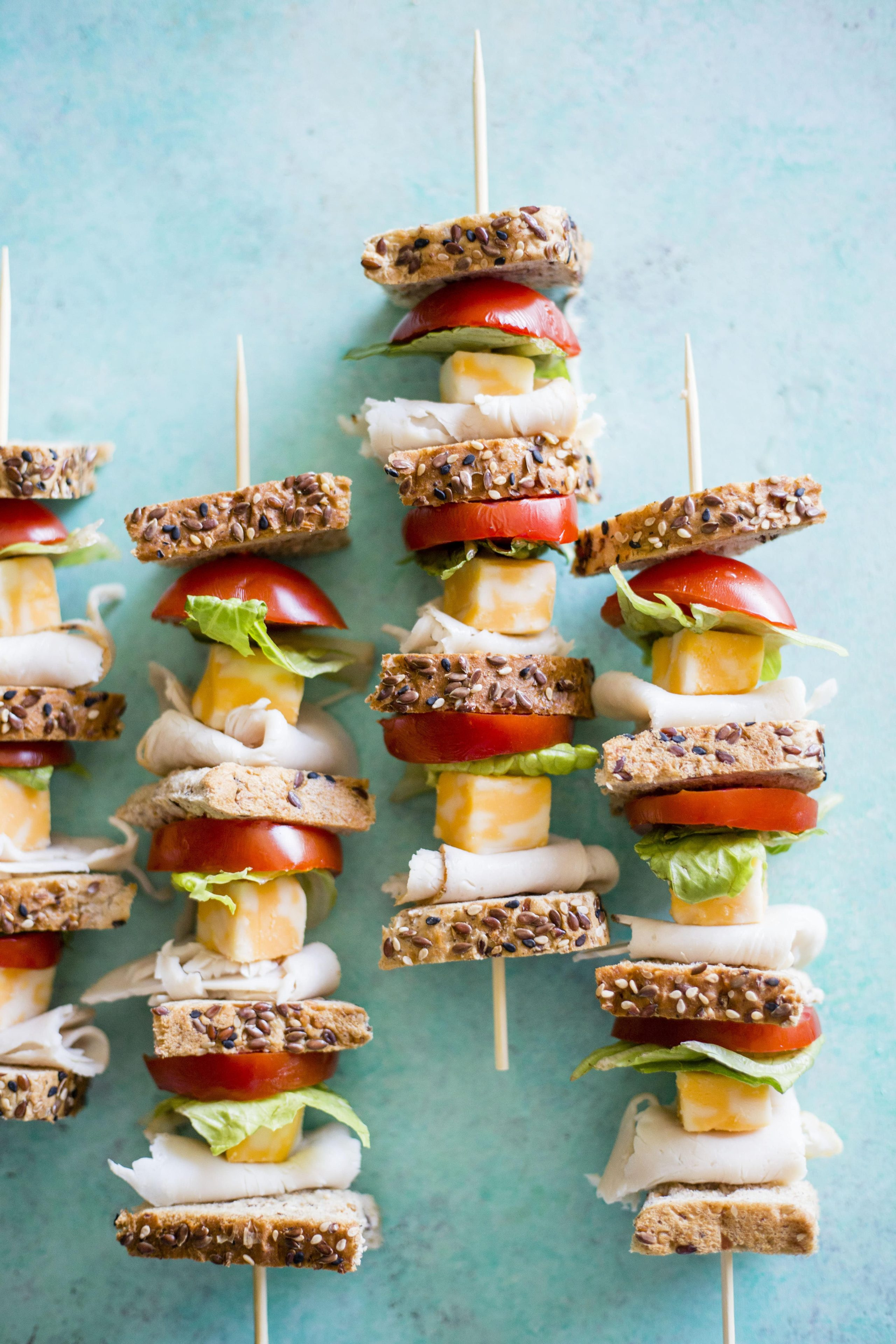 Turkey Sandwich Skewers | A tasty, deconstructed FUN way to enjoy your next sandwich! | thealmondeater.com