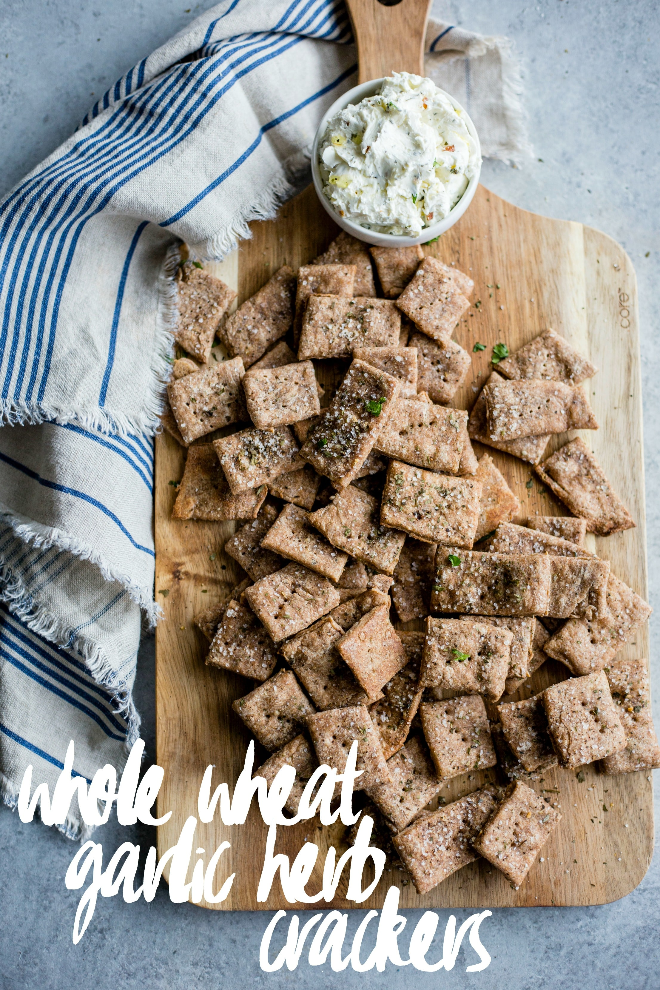Whole Wheat Garlic Herb Crackers   Homemade crackers are WAY easier to make than you'd think--these whole wheat crackers are full of flavor and ready in 30 minutes!