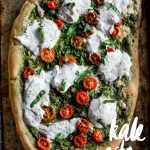 Kale Pesto Pizza | Delicious homemade pizza topped with kale pesto and burrata cheese | thealmondeater.com