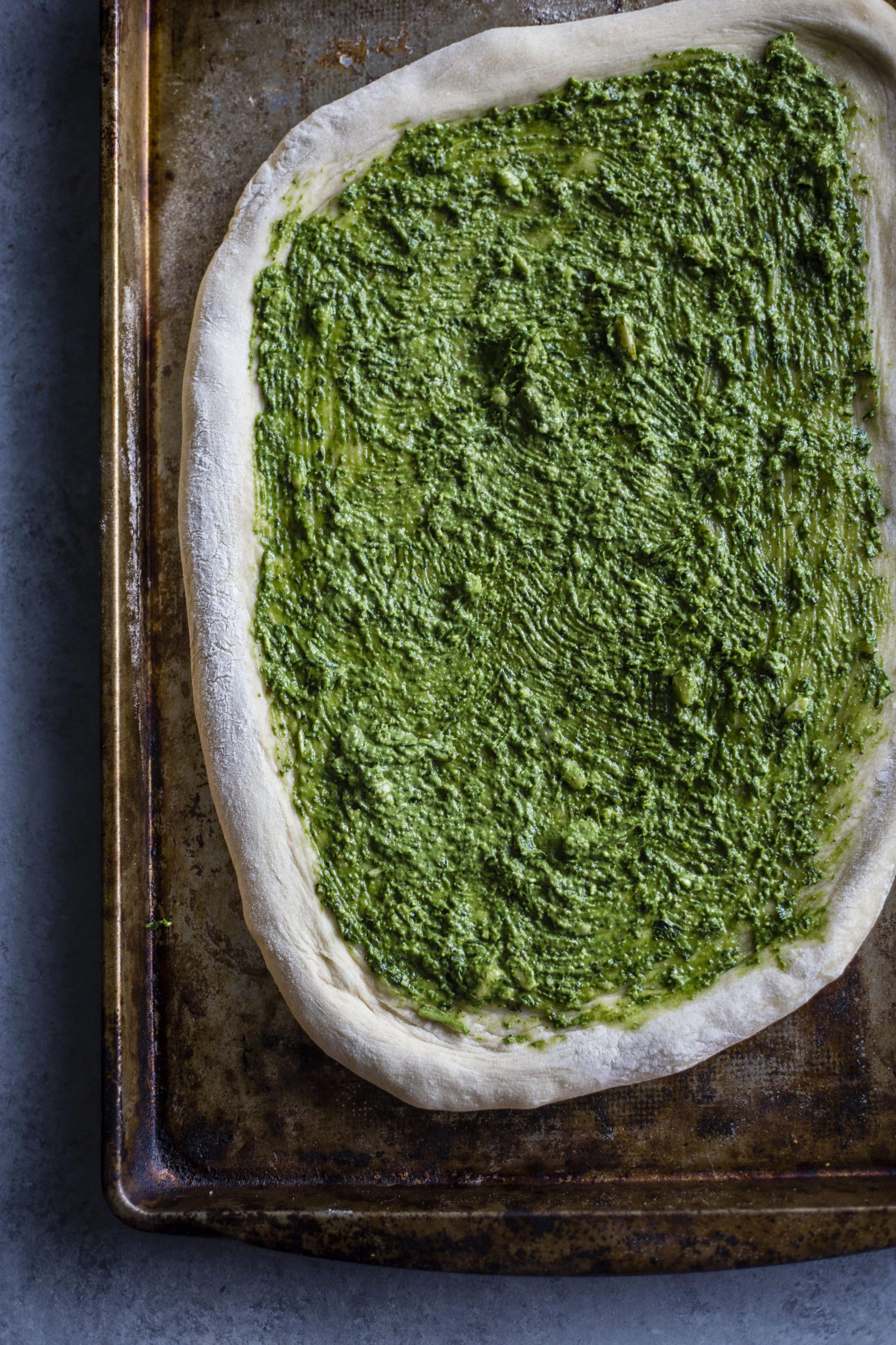 Kale Pesto Pizza | Homemade pizza topped with a simple yet flavorful kale pesto