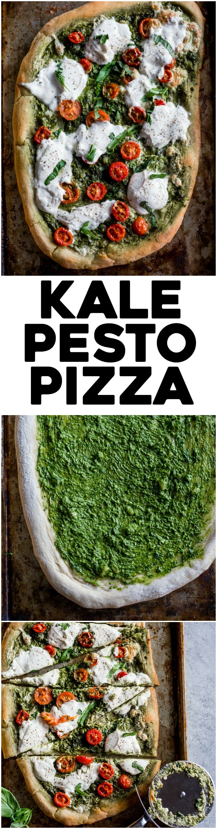 Kale Pesto Pizza | Homemade pizza topped with a simple yet flavorful kale pesto and burrata cheese | thealmondeater.com