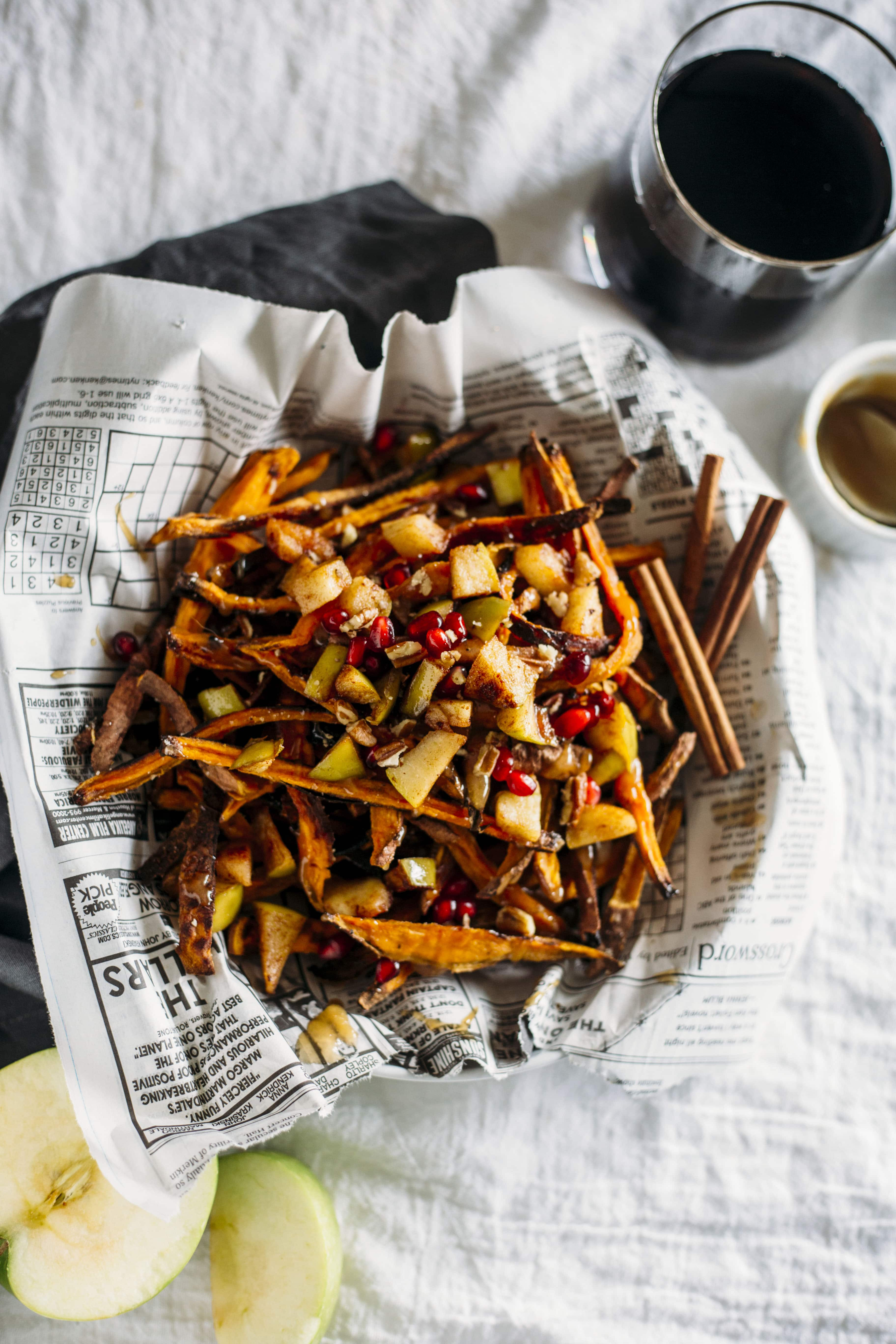Caramel Apple Sweet Potato Fries | Homemade fries topped with a HEALTHY caramel sauce and apples
