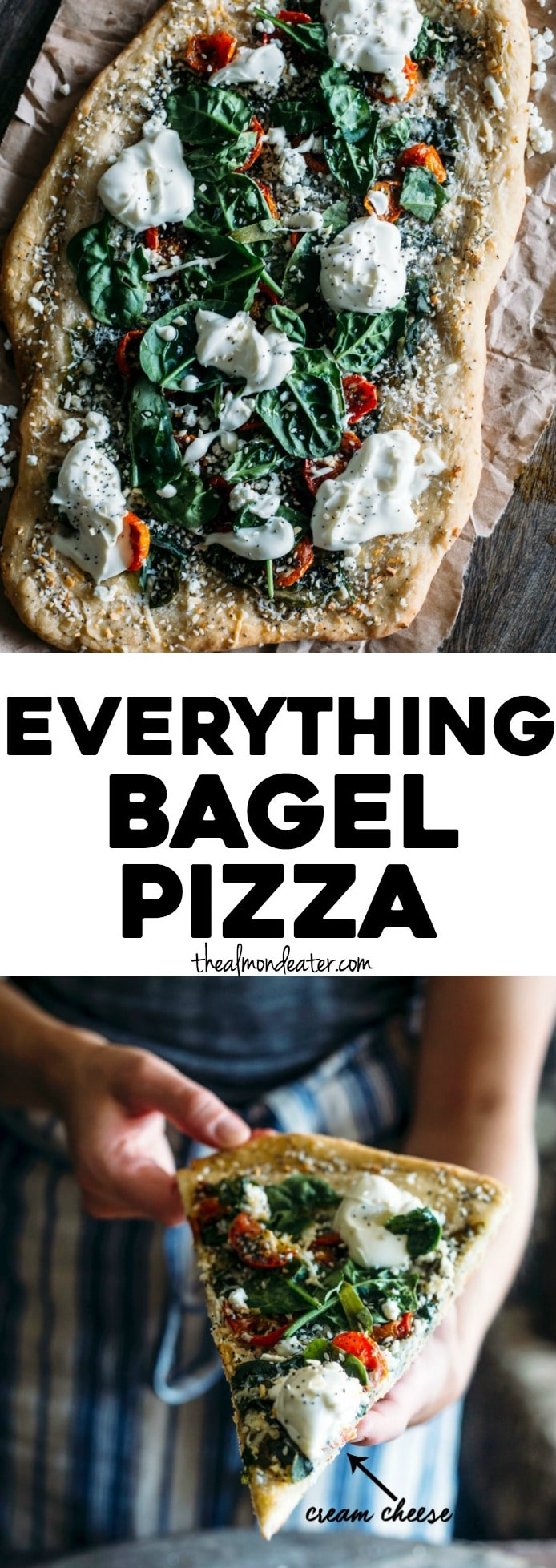 "Everything Bagel Pizza | Pizza topped with ""everything"" bagel spices, cheese, spinach and cream cheese, aka the pizza dreams are made of! 