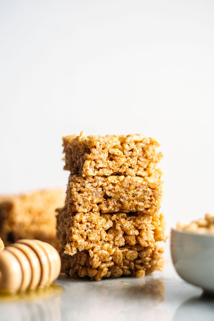 Honey Almond Butter Rice Crispy Bars | Just 4 ingredients, ready in 5 minutes and kid-friendly too!