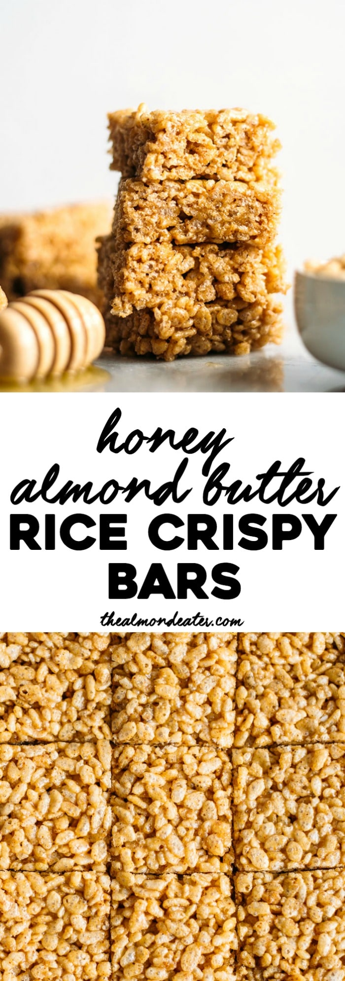 Honey Almond Butter Rice Crispy Bars | Snack bars made with gluten free cereal--4 ingredients, 5 minutes and they're kid-friendly too! | thealmondeater.com