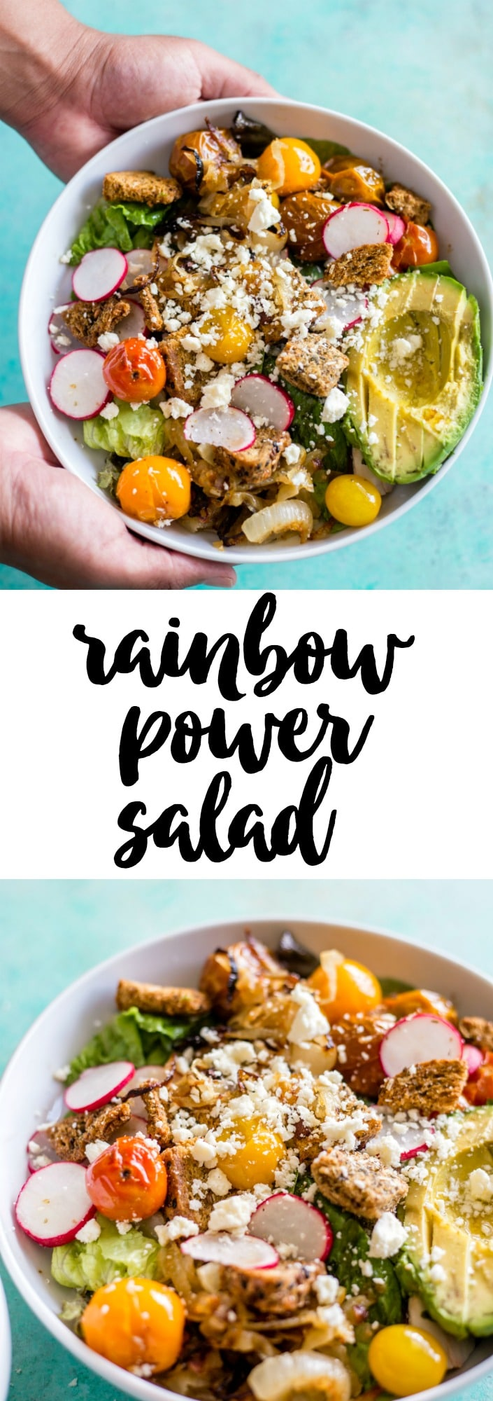 Rainbow Power Salad | Mixed greens topped with veggies, croutons and cheese--tons of flavor and a tasty lunch!