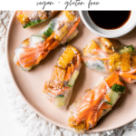 spring rolls on a plate with text