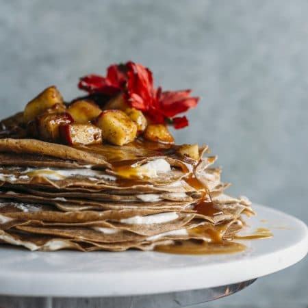 Caramel Apple Crepe Cake | Swap out regular crepes for this fancy yet surprisingly simple crepe cake! | thealmondeater.com
