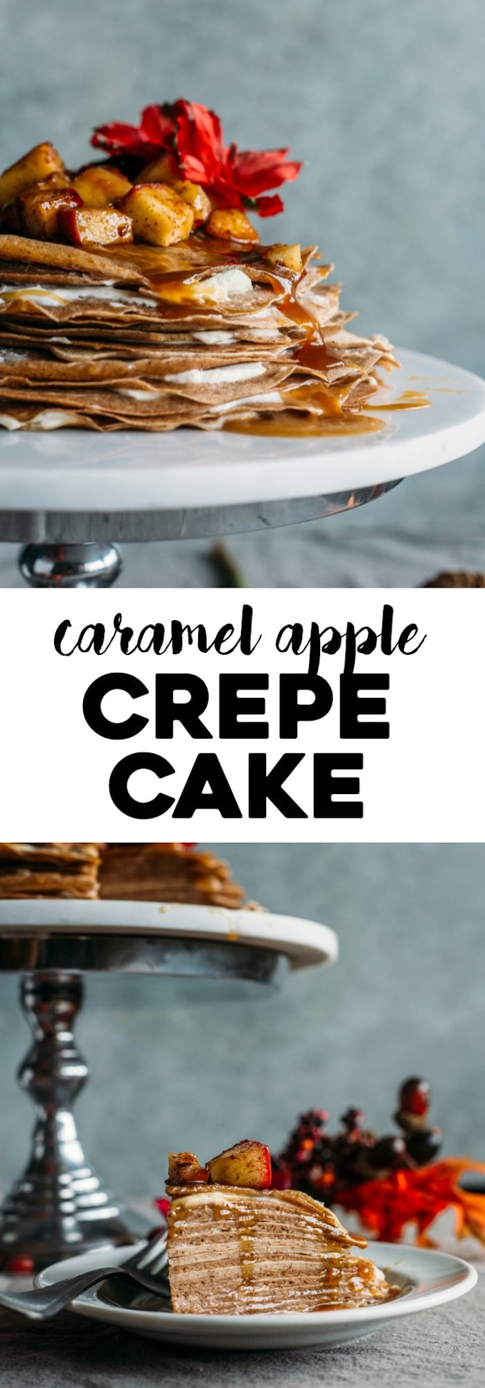 Caramel Apple Crepe Cake | Why settle for plain 'ole crepes when you could whip up this tasty yet surprisingly simple crepe cake?! Filled with mascarpone cheese and topped with caramel--yum! | thealmondeater.com