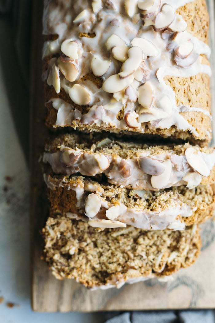 banana bread topped with almonds