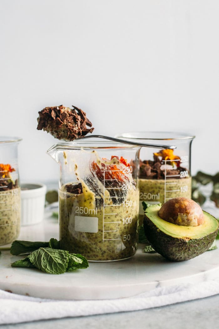 Avocado Mint Chia Pudding | Mint chia pudding with AVOCADO and dark chocolate--tastes like mint chocolate chip! | thealmondeater.com