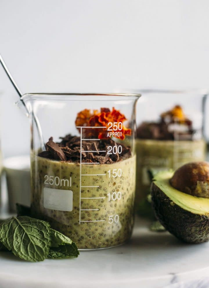 Avocado Mint Chia Pudding | Mint chia pudding with AVOCADO and dark chocolate--healthy fats, fiber and it tastes like mint chocolate chip! | thealmondeater.com