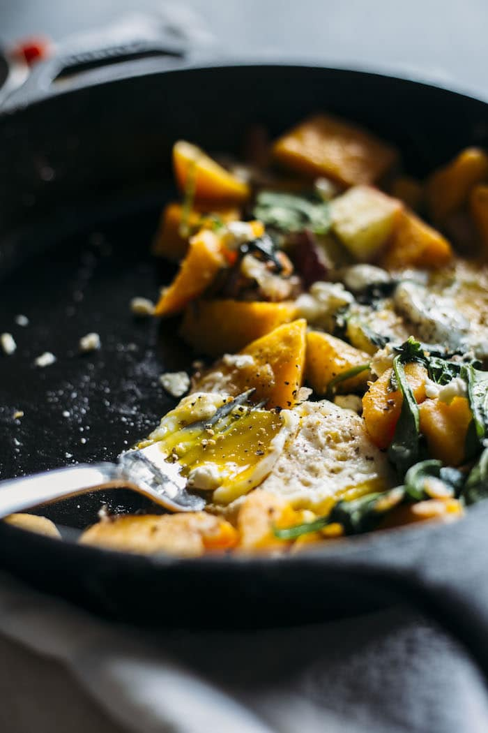 Butternut Squash Hash | A fall-flavored breakfast hash filled with squash, bacon and eggs! | thealmondeater.com