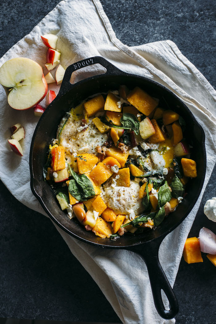 Butternut Squash Hash | ONE SKILLET filled with squash, bacon and eggs--the perfect fall breakfast! | thealmondeater.com