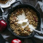 Caramel Apple Crumble Skillet | A one-pan dessert full of apples, cinnamon oats and caramel sauce | thealmondeater.com