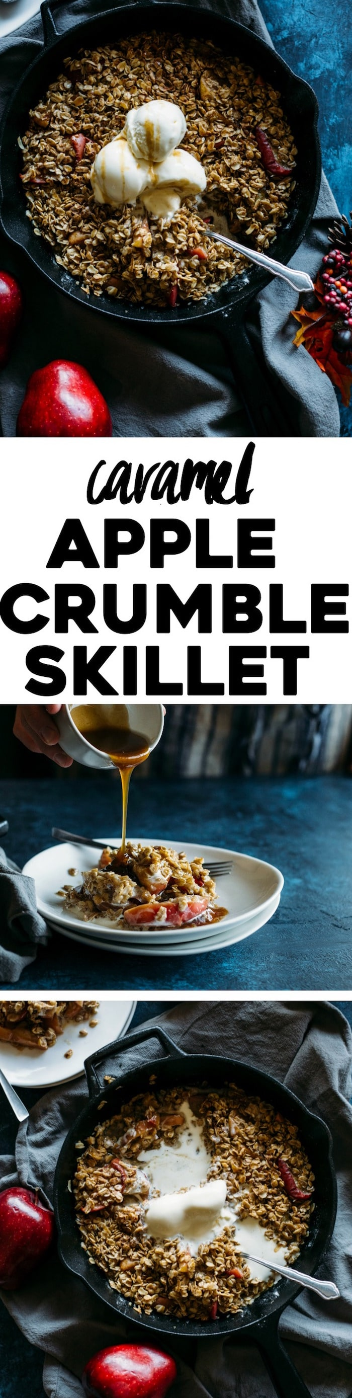 Caramel Apple Crumble Skillet | Apples, oats, cinnamon, and homemade caramel packed into this AMAZING one skillet dessert! | thealmondeater.com