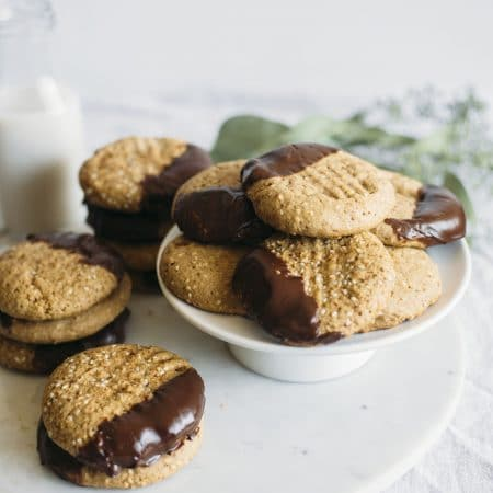 Chocolate Dipped Tahini Cookies | You CAN use tahini in a dessert recipe--these cookies are super easy and a great way to use up the last bit of tahini