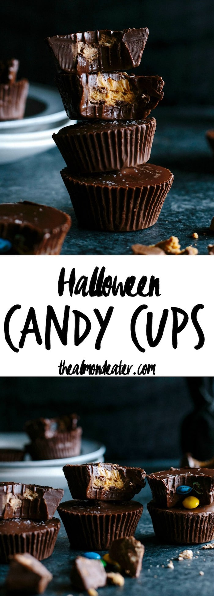 Halloween Candy Cups | Use up leftover Halloween candy and whip up these 3-ingredient candy cups! | thealmondeater.com