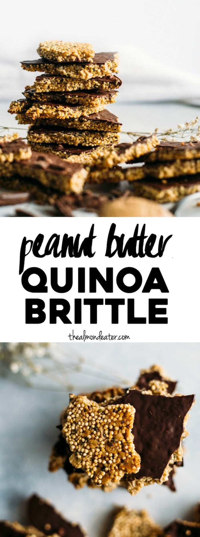 Peanut Butter Quinoa Brittle | A healthy snack packed with quinoa, superfoods and PEANUT BUTTER! | thealmondeater.com