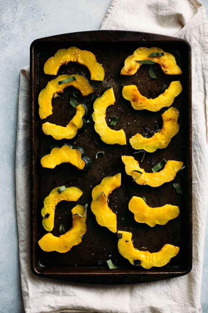 Roasted Acorn Squash with butter and sage