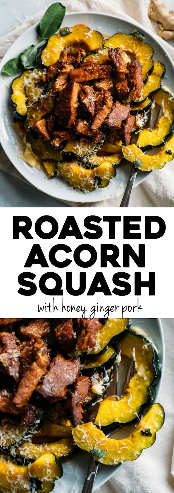 Roasted Acorn Squash | Acorn squash topped with honey ginger pork made in the slow cooker. A tasty way to enjoy squash! | thealmondeater.com