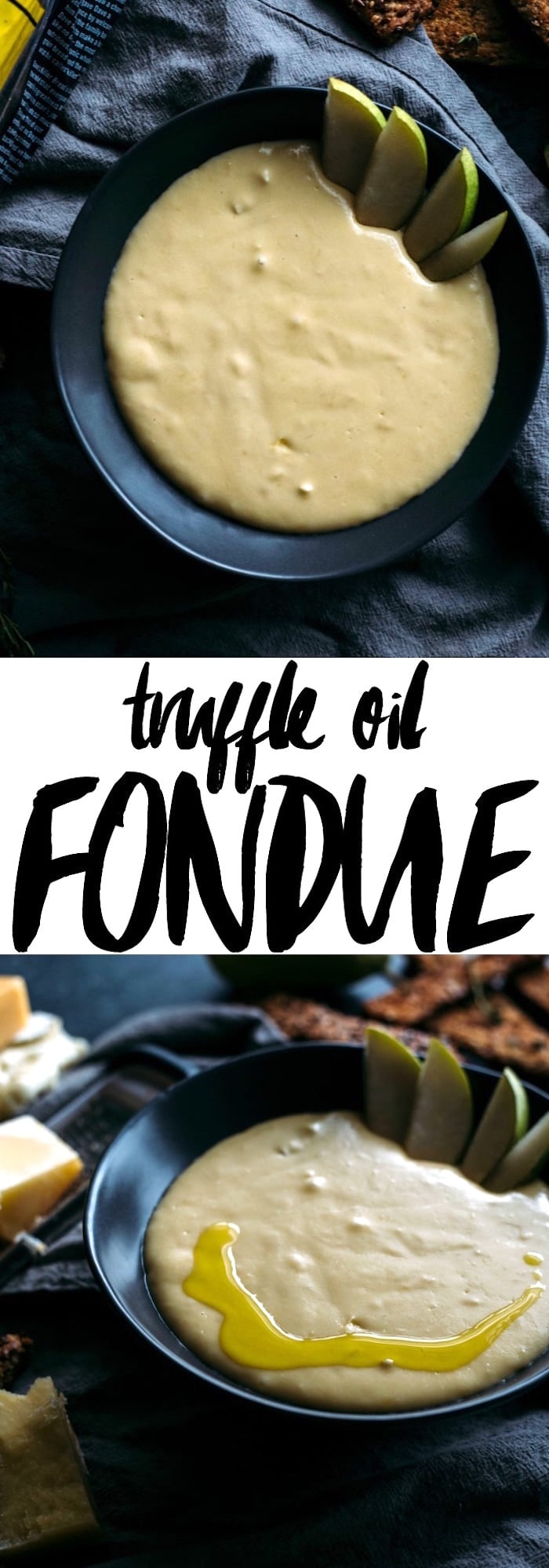 Truffle Oil Fondue | Simple fondue complete with truffle oil and buttered toasts | thealmondeater.com