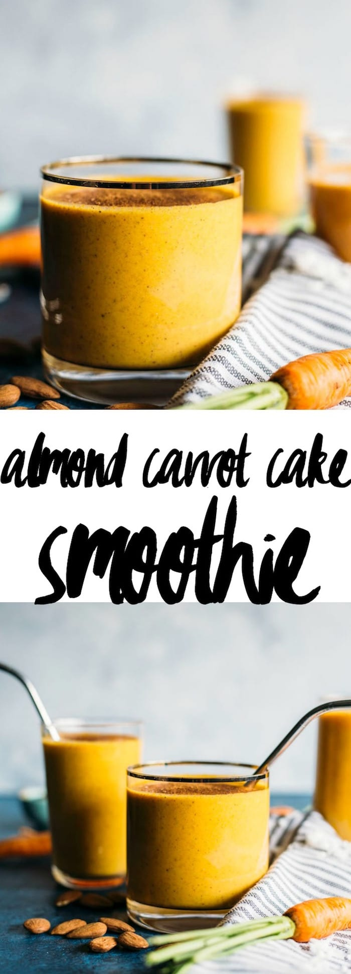 Almond Carrot Cake Smoothie | A healthy, dairy free smoothie that tastes like carrot cake with a hint of almond!