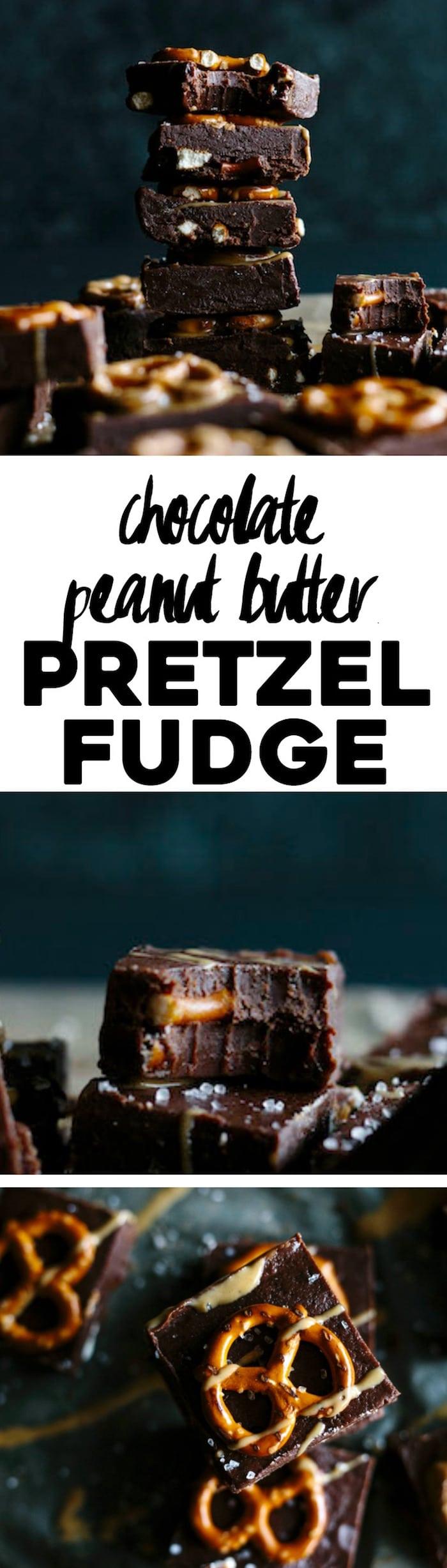 Chocolate Peanut Butter Pretzel Fudge | A simple fudge recipe that combines the 3 best flavors: chocolate, peanut butter and pretzels! | thealmondeater.com