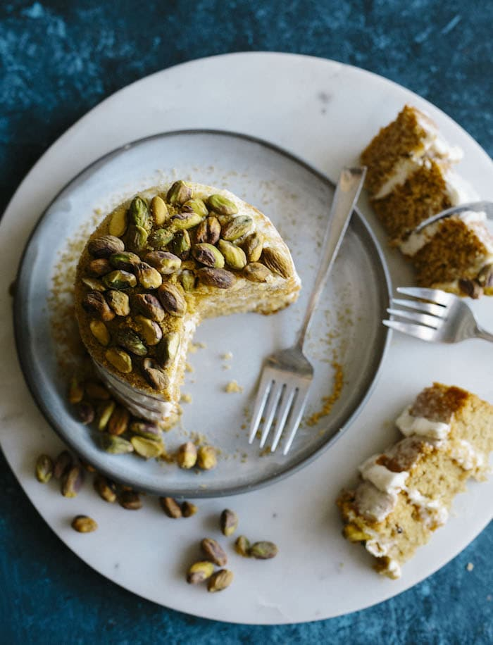 "Mini Pistachio Cake | A 4"" cake made with roasted pistachios and topped with a creamy cardamom icing 