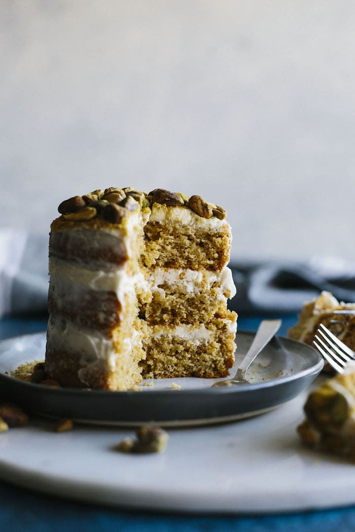 "Mini Pistachio Cake | An adorable 4"" cake covered in a cardamom mascarpone icing!"