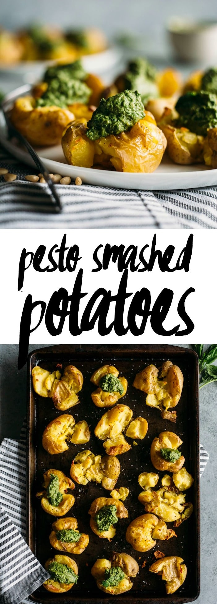 Pesto Smashed Potatoes | CRISPY smashed potatoes topped with healthy kale pesto, aka the perfect side dish | thealmondeater.com