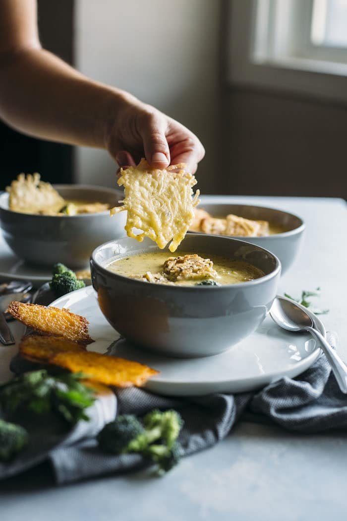 Three Cheese Broccoli Soup | If you love broccoli soup, you need this THREE CHEESE version in your life, plus cheese crisps!