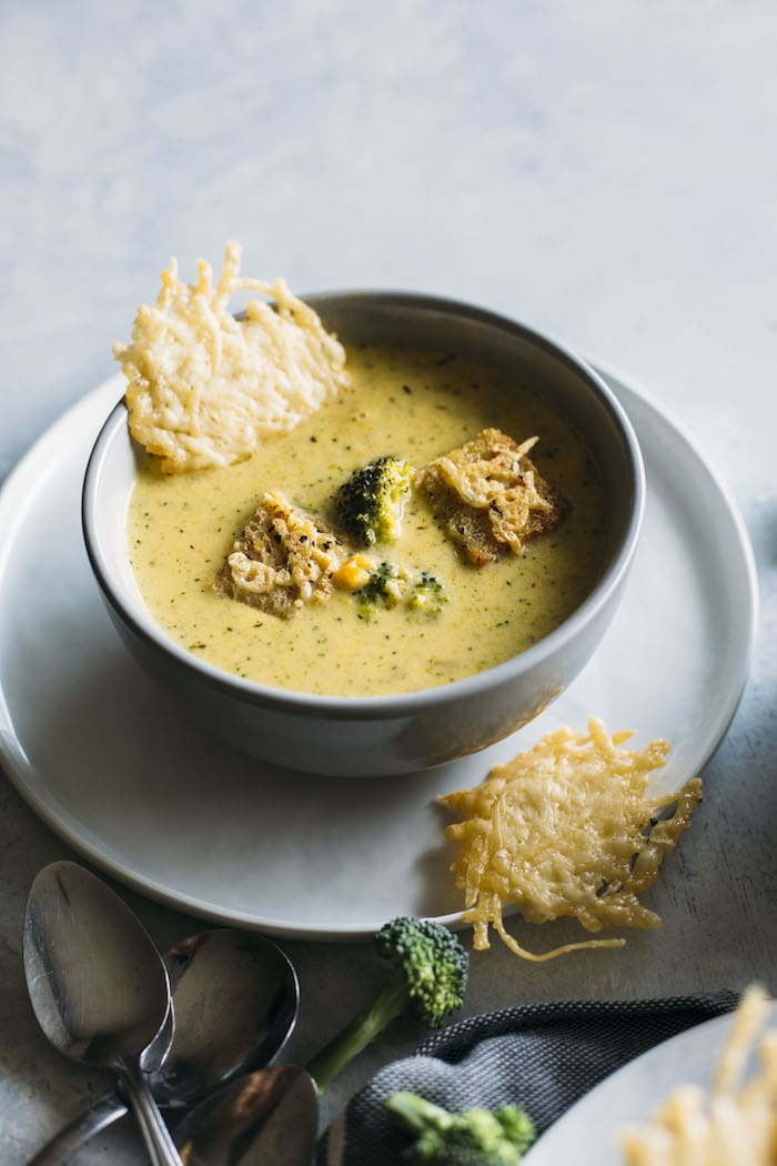 Three Cheese Broccoli Soup | Try this variation of broccoli soup which uses THREE cheeses--cheddar, colby jack and gouda!