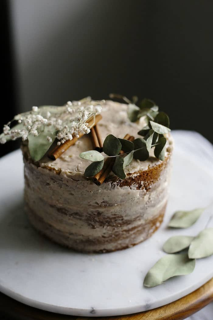 A three layer cake topped with chai icing