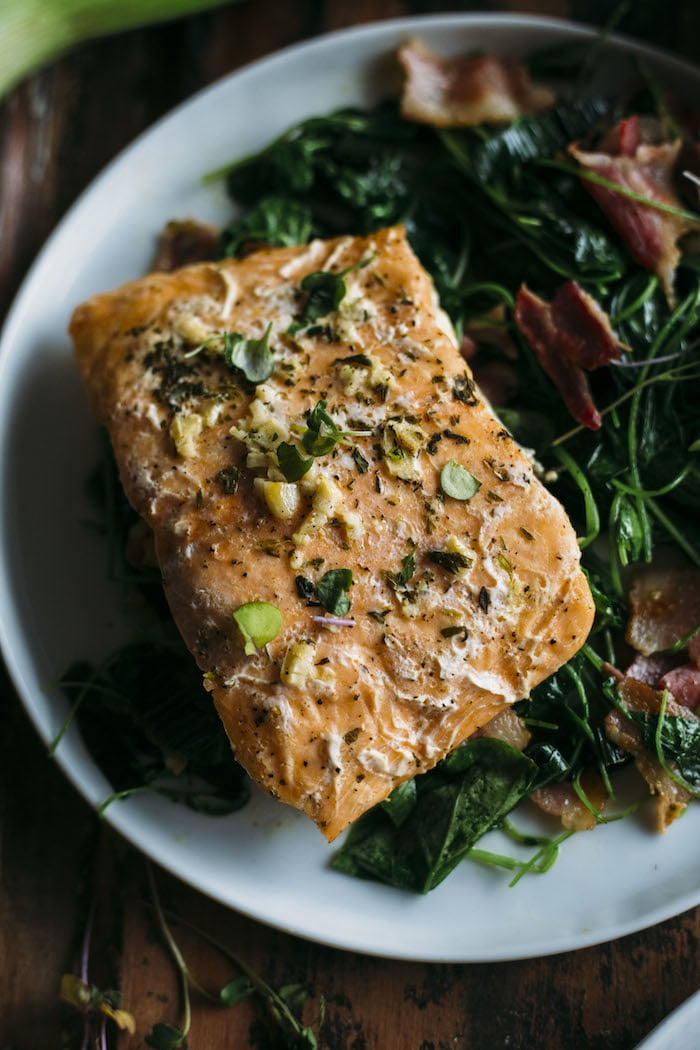 Whole30 Garlic Salmon With Watercress The Almond Eater