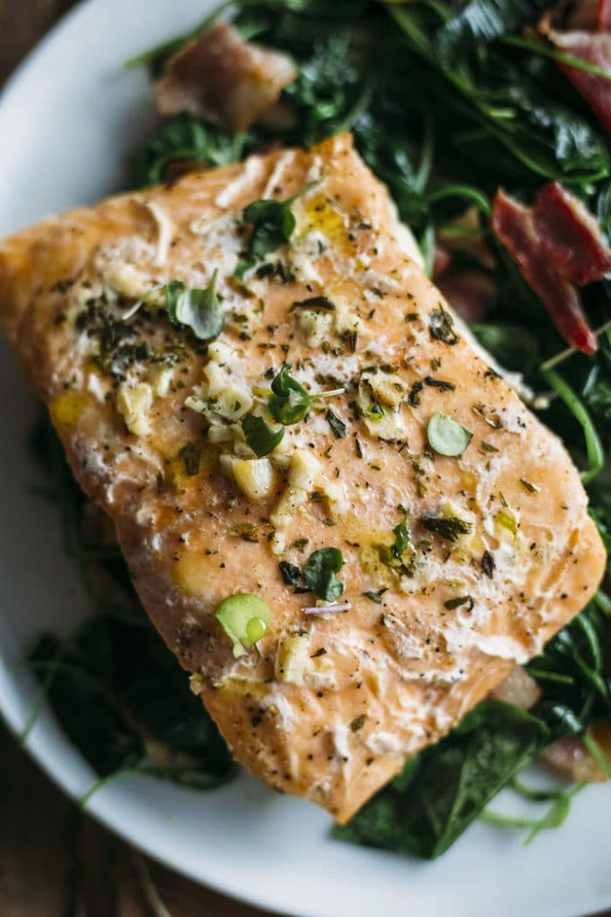Whole30 Garlic Salmon with Watercress | The Almond Eater