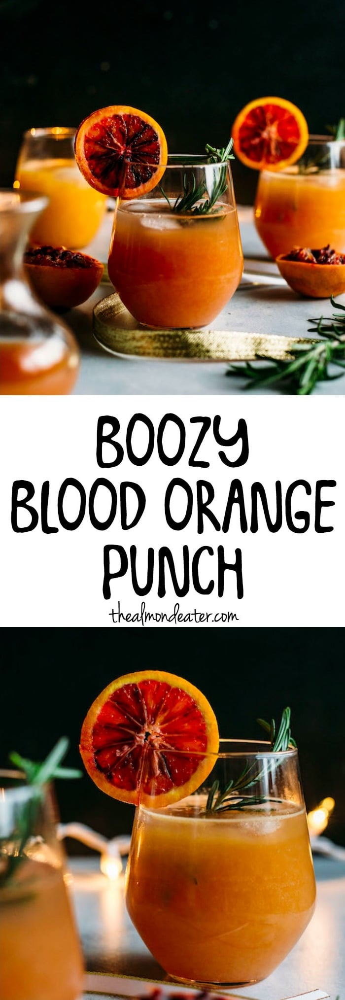 Boozy Blood Orange Punch | A delicious ORANGE cocktail that requires just 5 ingredients! | thealmondeater.com