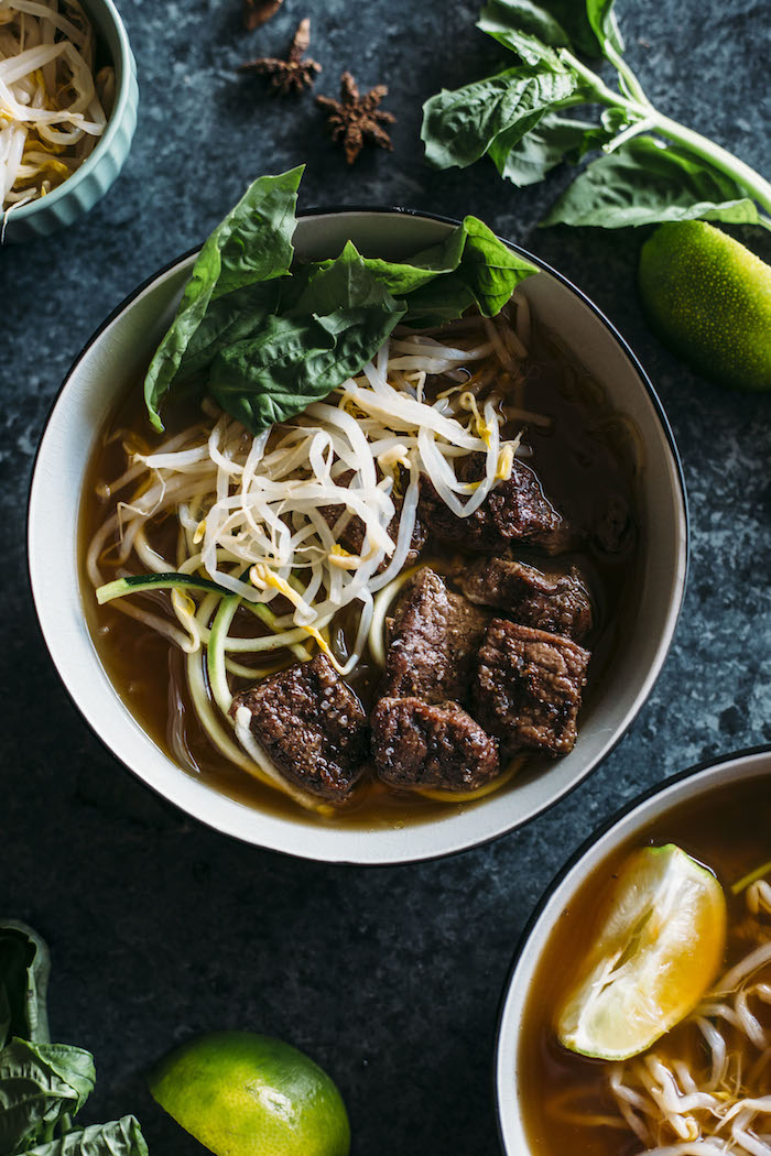 Paleo Beef Pho | This PALEO beef pho uses zucchini and kelp noodles in place of rice noodles for a tasty gluten free meal that's Whole30 compliant, too! | thealmondeater.com
