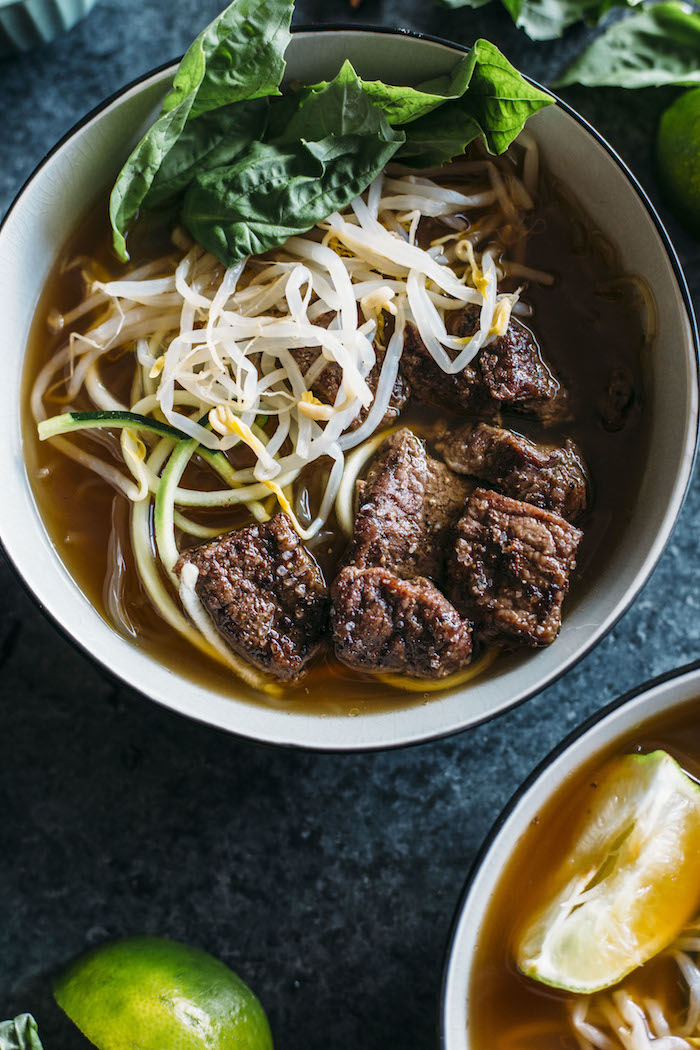 Paleo Beef Pho | A Paleo-friendly pho recipes that uses zucchini and kelp noodles in place of rice noodles and is Whole30 compliant, too! | thealmondeater.com