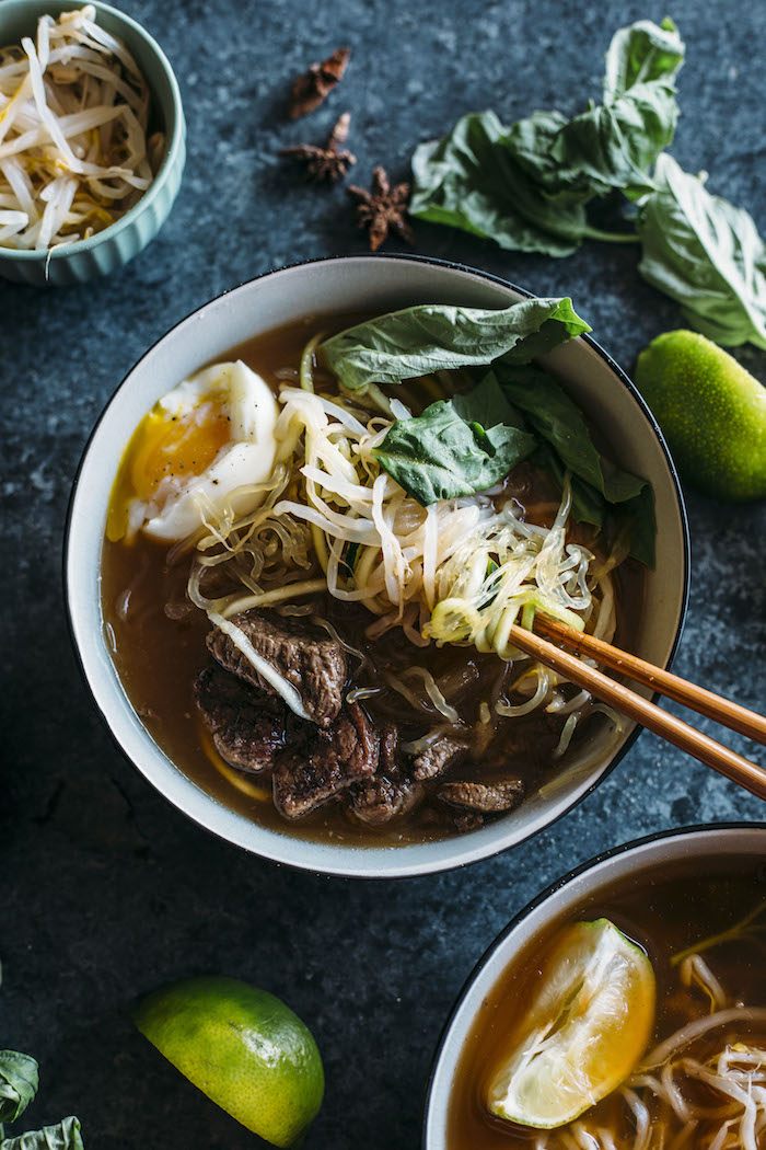 Paleo Beef Pho | A Paleo-approved pho recipe that uses zucchini and kelp noodles instead of rice noodles, and is Whole30 compliant! | thealmondeater.com