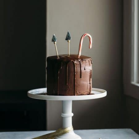 Vegan Chocolate Peppermint Cake | A delicious chocolate peppermint cake iced with chocolate ganache, aka the perfect holiday dessert! | thealmondeater.com