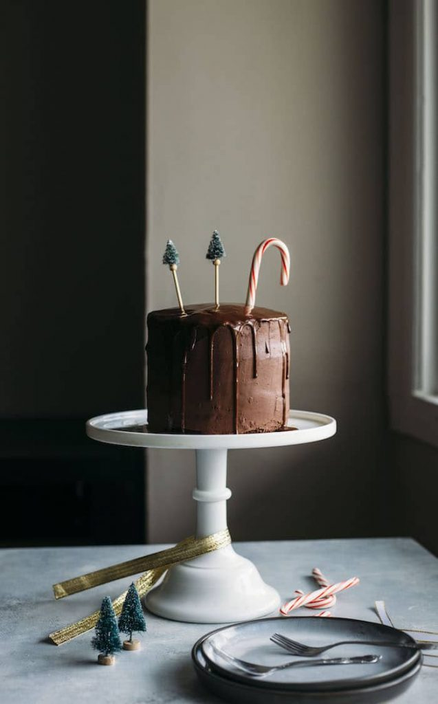 Vegan Chocolate Peppermint Cake with Chocolate Ganache The